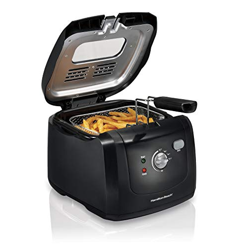 Hamilton Beach Cool-Touch Deep Fryer, 8 Cups / 2 Liters Oil Capacity, Lid with View Window, Basket with Hooks, 1500 Watts, Electric, Black (35021)