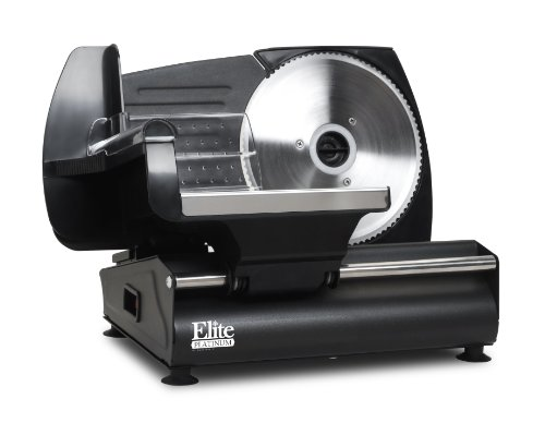 """Elite Platinum EMT-503B Ultimate Precision Electric Deli Food Meat Slicer, Removable Stainless Steel Blade, Adjustable Thickness, Ideal For Cold Cuts, Hard Cheese, Vegetables & Bread, 7.5"""", Black"""