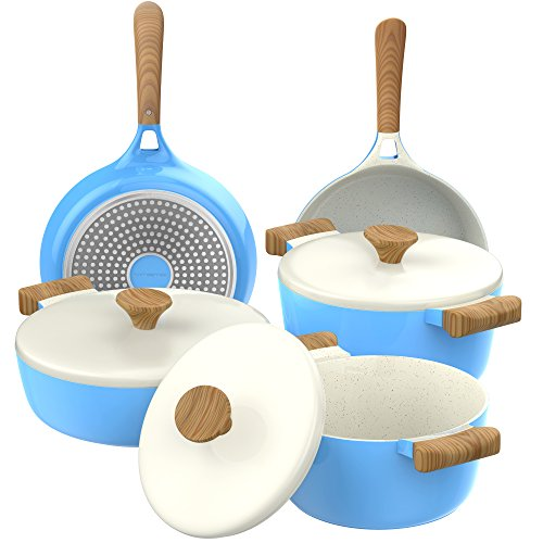 Vremi VRM030047N omelet-pans, 8 Piece, Blue and White
