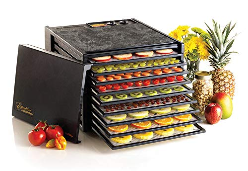 Excalibur 3926TB 9-Tray Electric Food Dehydrator with Temperature Settings and 26-hour Timer Automatic Shut Off for Faster and Efficient Drying Includes Guide to Dehydration Made in USA, 9-Tray, Black