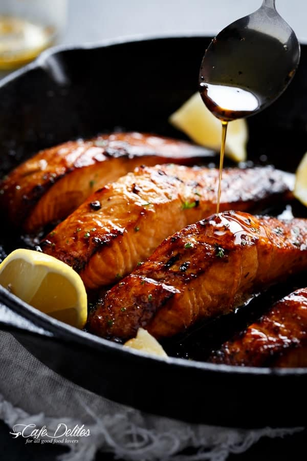 Browned Salmon with Butter, Honey and Garlic