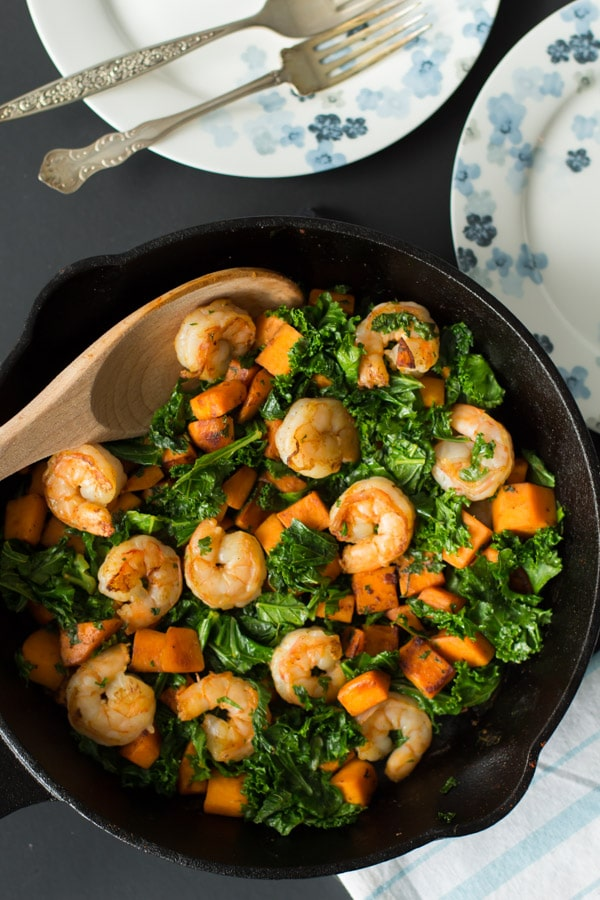 Sweet Potato, Kale and Shrimp cooked in a skillet